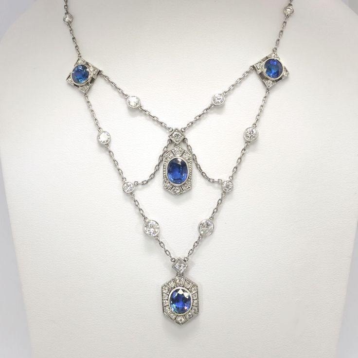 Vintage 1940's 9.60ct t.w. Natural Blue Sapphire & Diamond Festoon Necklace Platinum | Antique & Estate Jewelry | Jewelry Finds