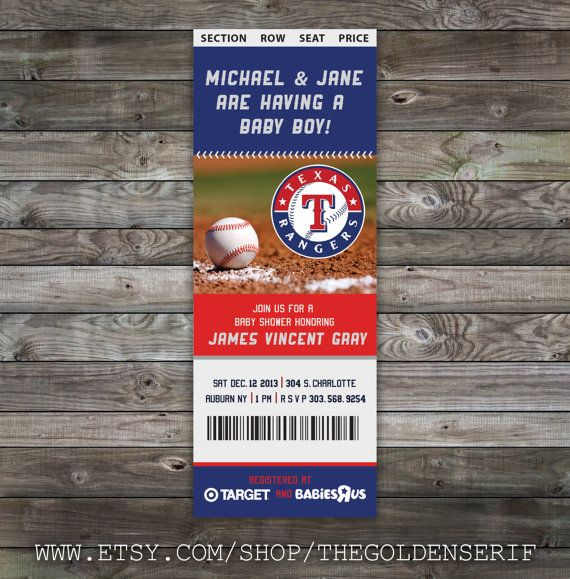 Printable Baseball ticket Baby Shower Invitation, texas rangers invitation, texas rangers baby shower, dodgers baby shower, yankees invitation, sox invitation, braves baby shower, rockies invitation