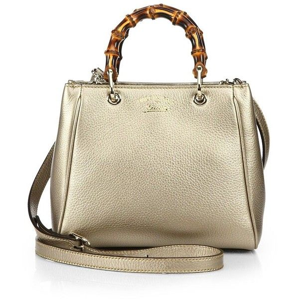 Gucci Bamboo Shopper Mini Leather Top Handle Bag ($1,350) ❤ liked on Polyvore featuring bags, handbags, apparel & accessories, purse, leather shopper, accessories handbags, mini handbags and brown leather handbags