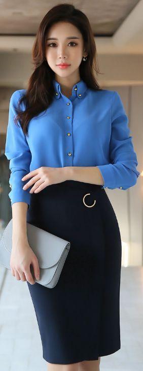 StyleOnme_Modern High-Waisted Pencil Skirt #blue #navy #koreanfashion #pencilskirt #feminine #elegant #kstyle #seoul #skirt