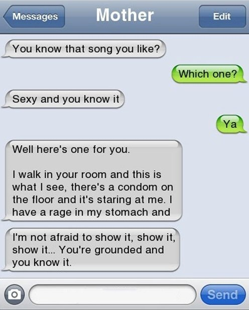 Text Message Mom Song. LMAO!!! Bunny, I can so see you doing this in the future!!!