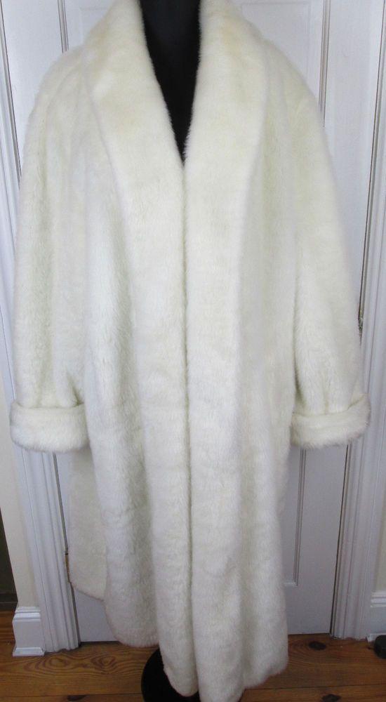 Dennis Basso White Faux Fur Coat LONG Women's Full Length Jacket ...