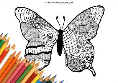 Butterfly coloring page to print downloads by FarfallaDorata