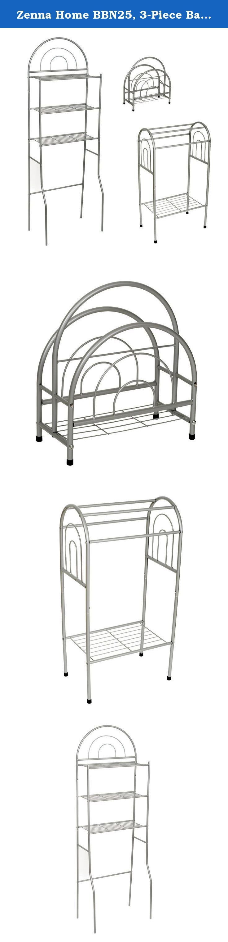 Zenna Home BBN25, 3-Piece Bath in a Box, Spacesaver, Towel Rack, Magazine Rack, Satin Nickel. BBN25 Finish: Brushed Chrome Pictured in brushed chrome Features: -Three piece bathroom set. -Set includes etagere, towel rack and magazine stand. -Available in Brushed Chrome or White finish.