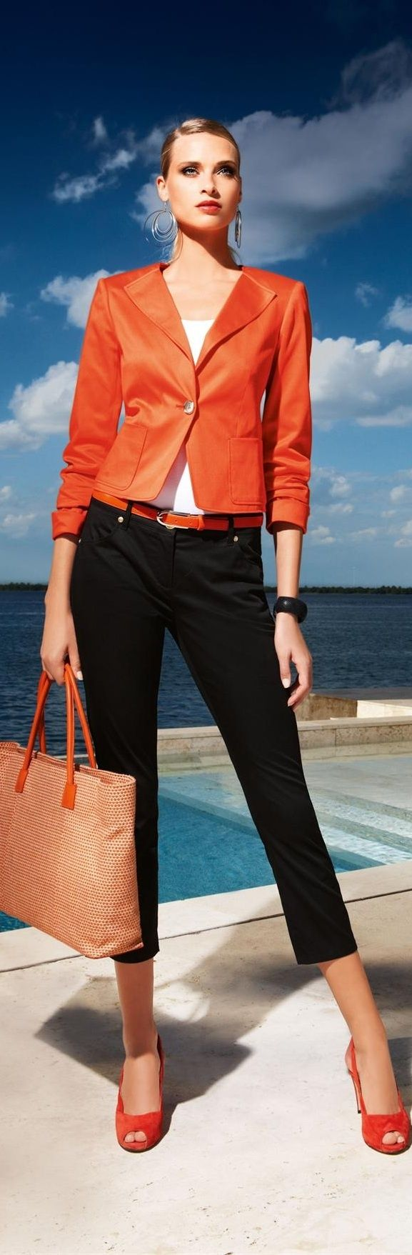 A black and orange outfit that doesn't scream Halloween. Like it!