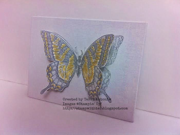 June Watercooler Blog Hop...  3D Swallowtail on canvas. Created by Terri Antoniw  http://stampwithter.blogspot.com
