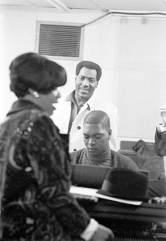 "Otis Redding and Carla Thomas, with Booker T. Jones, working on the song ""Tramp"" (1967)"