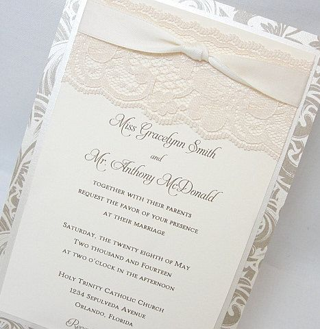 EMILY 1 Lace Wedding Invitation Invite Vintage Shabby Chic Couture