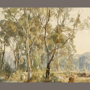 Hans Heysen (1877-1968) Young Gums, Ambleside 1918 Sold for AU$ 24,400 inc. premium