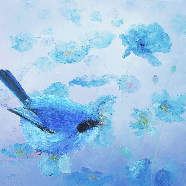 Bluebird on blue poppies  #birdart #birdprints