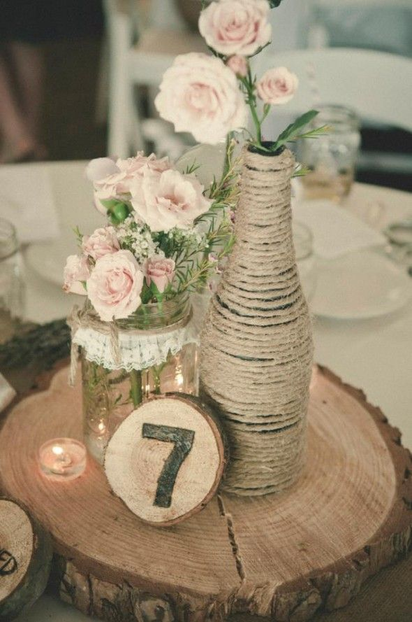 wine bottle centerpieces for wedding | Rustic centerpieces with wood coin, twine wrapped wine bottle and wood ...