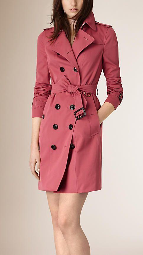Bright copper pink Cotton Gabardine Trench Coat - Image 1