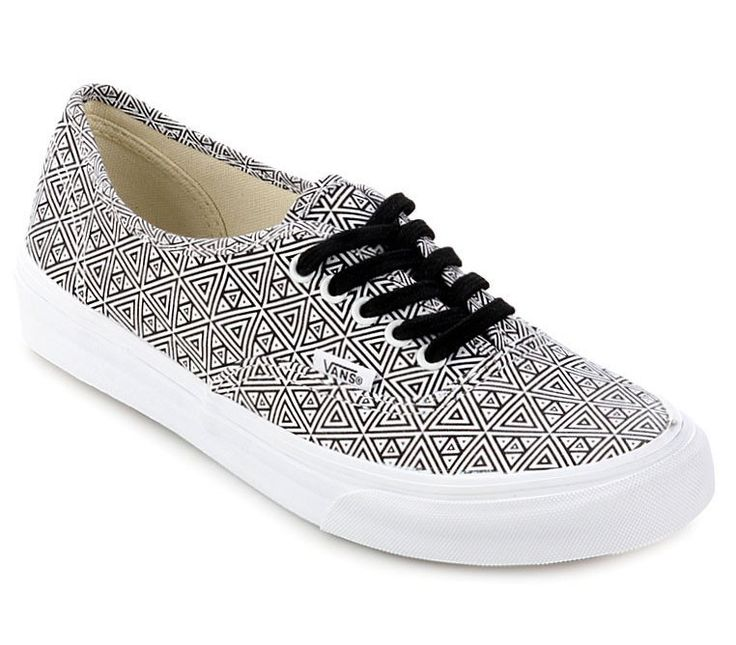 Authentic Slim Shoes by Vans. The Authentic Slim, with a slightly slimmer silhouette than that of the original, has a simple low top, lace-up durable canvas upper with metal eyelets and Vans signature Waffle Outsole. With tribal pattern. http://www.zocko.com/z/JJpUU
