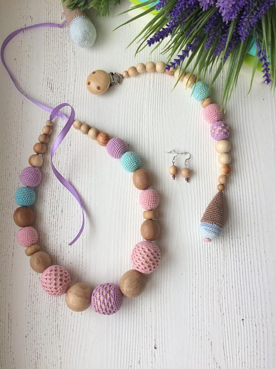 FREE SHIPING Teething necklace/ Breastfeeding Necklace for Mom / Nursing Necklace / Crochet nursing necklace in candy color / organic cotton