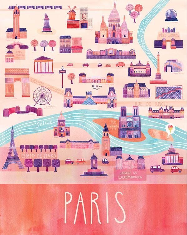 Beautifully illustrated map of Paris by Marisa Seguin.: Paris Maps, Illustrations Maps, Cities Maps, Paris France, Art Prints, Travel Posters, Paris Illustrations, Girls Rooms, Marisa Seguin