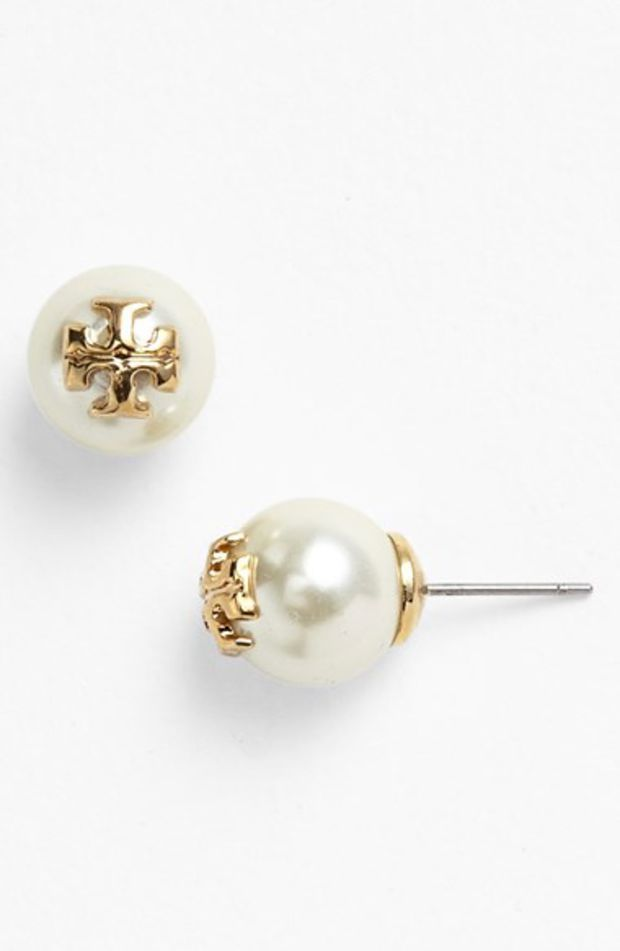 Women's Tory Burch 'Evie' Faux Pearl Stud Earrings - Ivory/ Gold