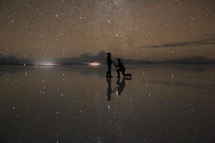 Pedida de mano... mi esposito y yo En Salar De Uyuni Bolivia
