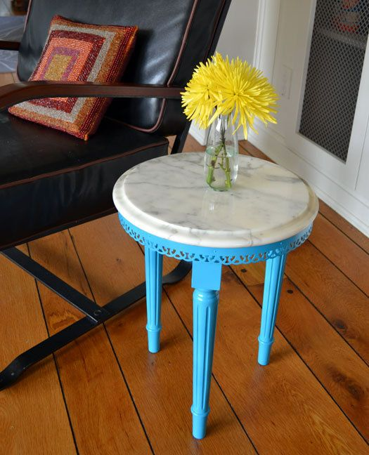 Marble Top Side Table Painted Turquoise Revived