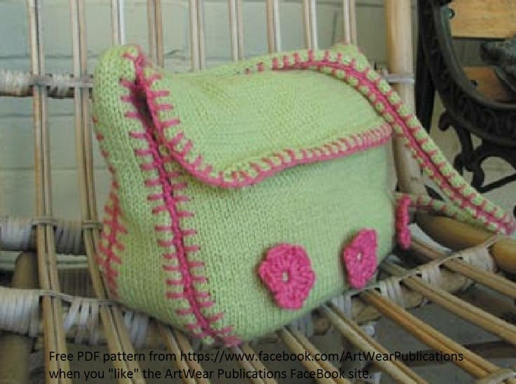 """Love this free knitted bag pattern and love that it is so easy to access. Race on over the the ArtWear Publications FaceBook page, """"like"""" us and this pattern, plus a few other treats are in the """"like"""" only access area. Thanks for your """"like"""". The more we get, the more freebies we will add!"""