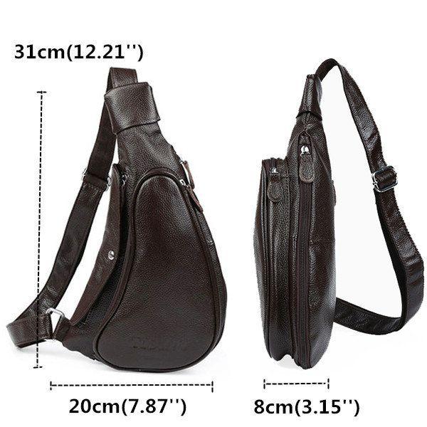 Men Genuine Leather Vintage Casual Chest Bag Retro Leisure Shoulder Bag  men women  bags fashion
