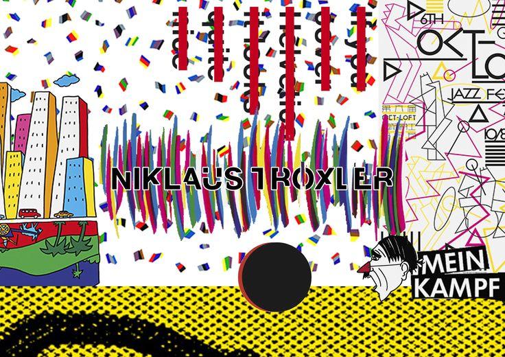 Compilatie Niklaus Troxler  Niklaus Troxler Speelt met typografie en simpele lijnen en vormen. Hij gebruikt vaak felle kleuren die goed contrasteren op zwart en wit. Zijn stijl is  druk want hij speelt vaak met simpele figuren door die kris kras door elkaar te laten vliegen.Ik vind zijn stijl oud maar heel leuk. Hij is voor mij de interessantste ontwerper uit de lijst. Je ziet dat hij al veel ervaring heeft de vormen van grafimedia en weet zijn eigen twist er aan te geven.