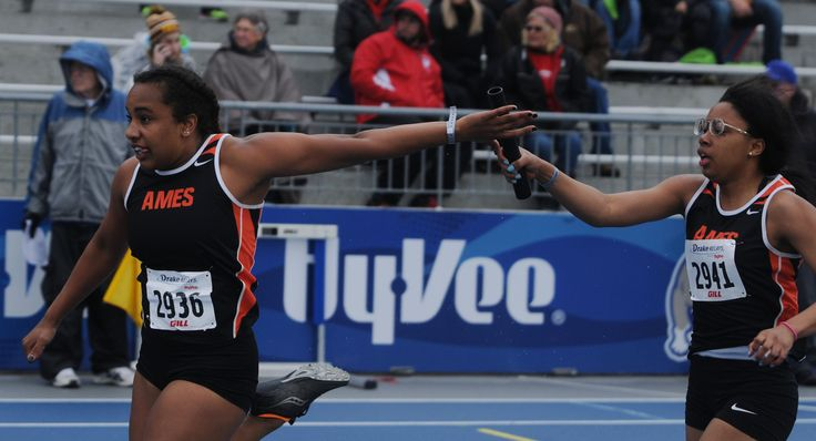 Ames' Sabrinna Hehelheimer takes the baton from Desiree Thomas during the high school girls' 4x100-meter relay at the Drake Relays on Friday at Drake Stadium in Des Moines. Photo by Nirmalendu Majumdar/Ames Tribune http://www.amestrib.com/sports/20170428/track-and-field-ames-sends-two-relays-to-finals