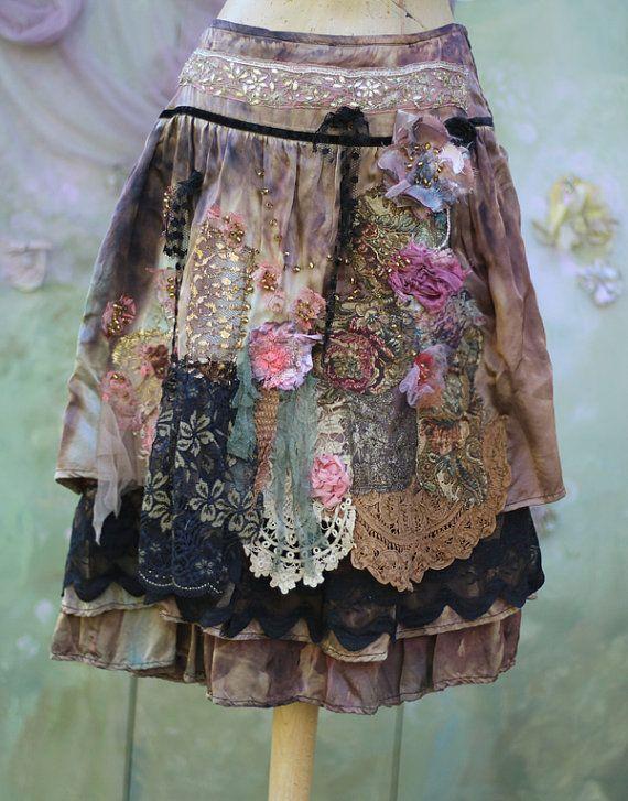 Barocco skirt II bohemian romantic altered by FleursBoheme