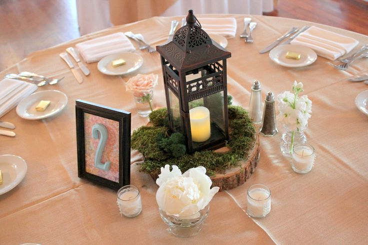 45 best centerpieces wood slab lantern images on for Wood vases for centerpieces