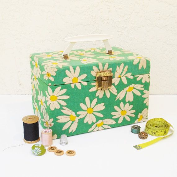 1960s Sewing Box / Midcentury Sewing Caddy / by AlegriaCollection