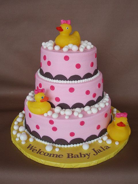 Rubber Duckie Baby Shower Cake by http://CakesUniqueByAmy.com, via Flickr Cute, tired rubber duck baby shower cake for a girl. Cake inspiration.