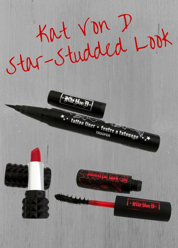 Kat Von D's The Star Studded Look Makeup includes a 24HR Mascara, Tatoo Eyeliner and a Studded Kiss Lipstick.