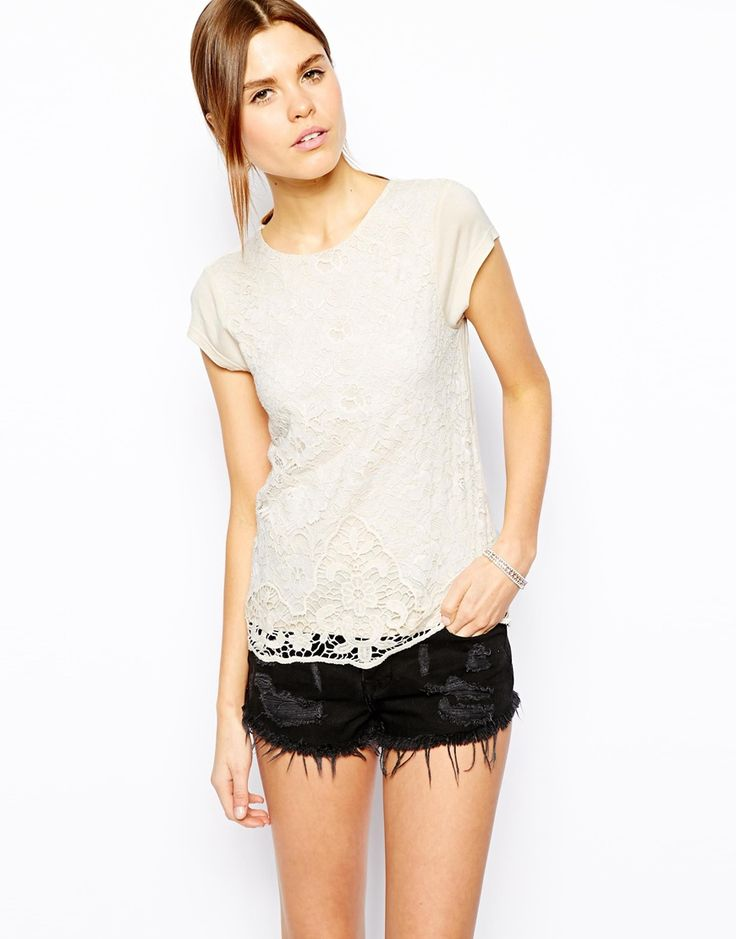 Image 1 of Warehouse Capped Sleeve Lace Top