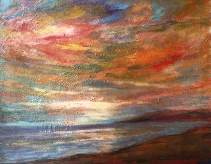 oltre... - Pittura,  2x40x50 cm ©2011 da Milla -                            Espressionismo astratto, tramonto sul mare, nuvole rosse, riflessi nel mare