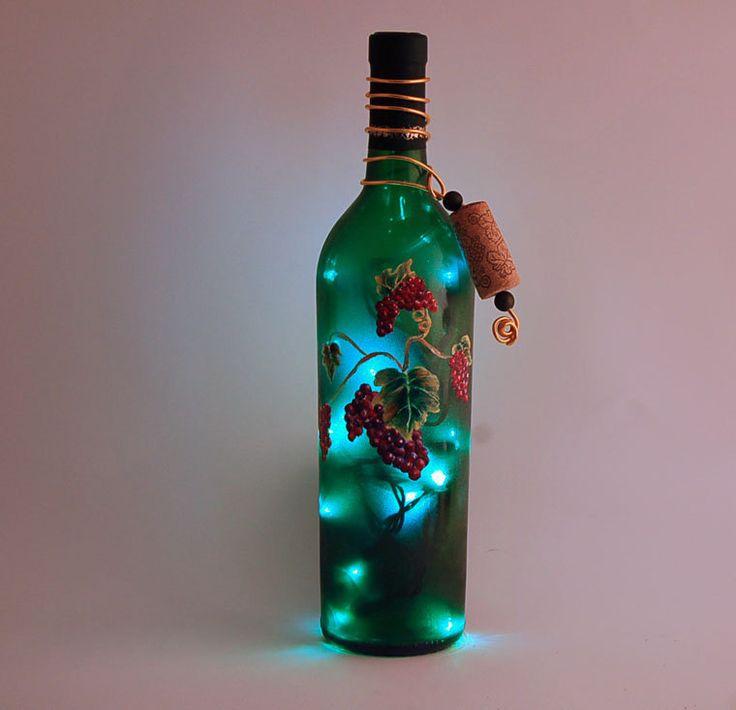 102 best wine grape decorations images on pinterest for Wine bottle light ideas