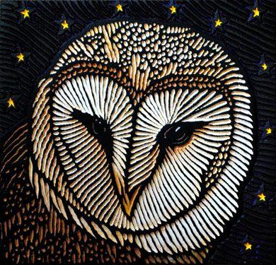 Barn Owl, Lisa Brawn, painted woodcut block on salvaged Douglas Fir