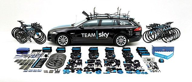 Room for one more? All the kit that fits in and on top of the team car for each race. Nine bikes are usually loaded on top -one ofor each rider... then there are the bidons and a cool box, spare wheels, kit and tools