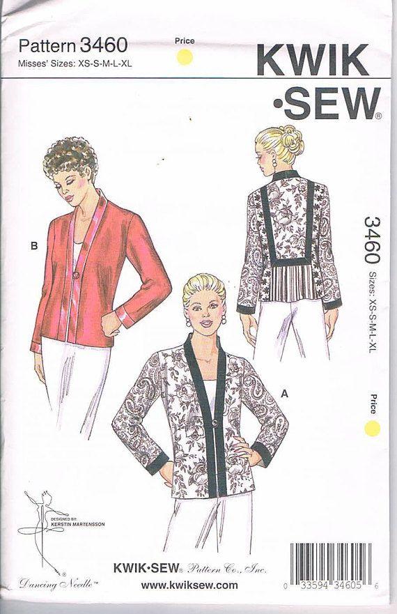Kwik Sew 3460 Misses' Jackets Semi-fitted   XS-XL 4-22