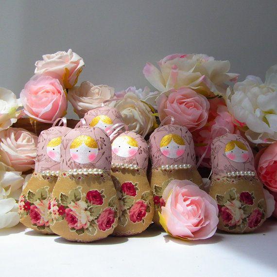 Babushka doll matryoshka ornament 6 dolls set by CherryGardenDolls