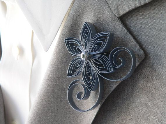 Grey Boutonniere, Gray Buttonhole, Grey Wedding, Pewter Wedding, Mens Wedding Boutonnieres on Etsy, $16.00