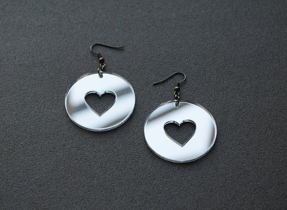 Mirror earrings mirror acrylic earrings heart by elfinadesign