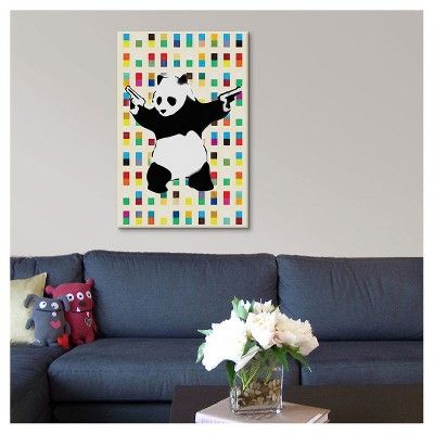"Panda with Guns Bright Dots by Banksy Canvas Print (18""x12""), Off-White Pink Yellow Black"