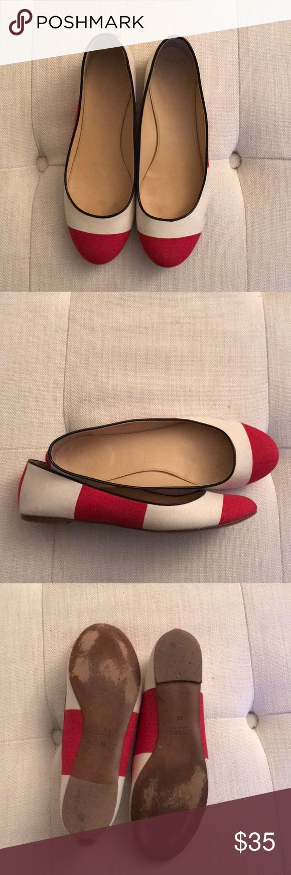 J.Crew Nora striped ballet flat J.Crew striped Nora ballet flat. Wide red and white stripe fabric flat tipped in black patent leather. Size 8.5. Excellent condition only worn once. J. Crew Shoes Flats & Loafers