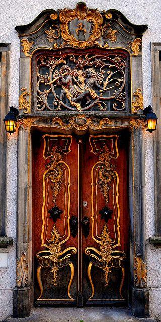 Beautiful wooden door in Gdansk, Poland