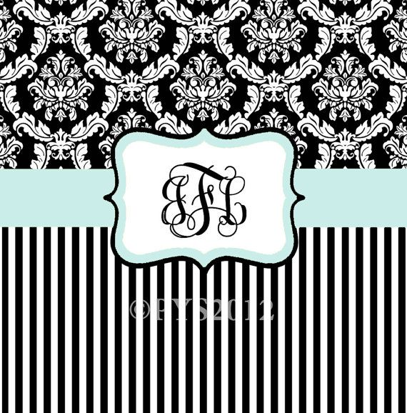 Damask and Stripe - Black and White - Blue Shower Curtain - Any Color Band - Personalized Shower Curtain, Custom Monogrammed Curtain