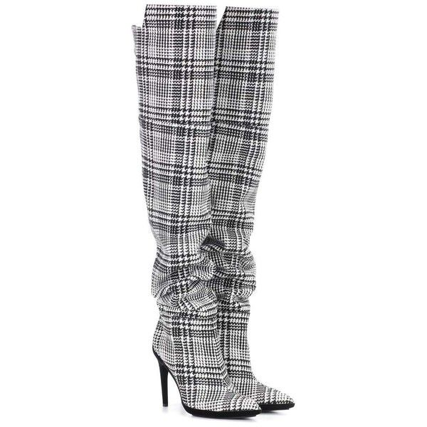 Off-White Plaid Over-the-Knee Boots ($1,855) ❤ liked on Polyvore featuring shoes, boots, multicoloured, tartan boots, over the knee boots, thigh-high boots, multi colored boots and above the knee boots