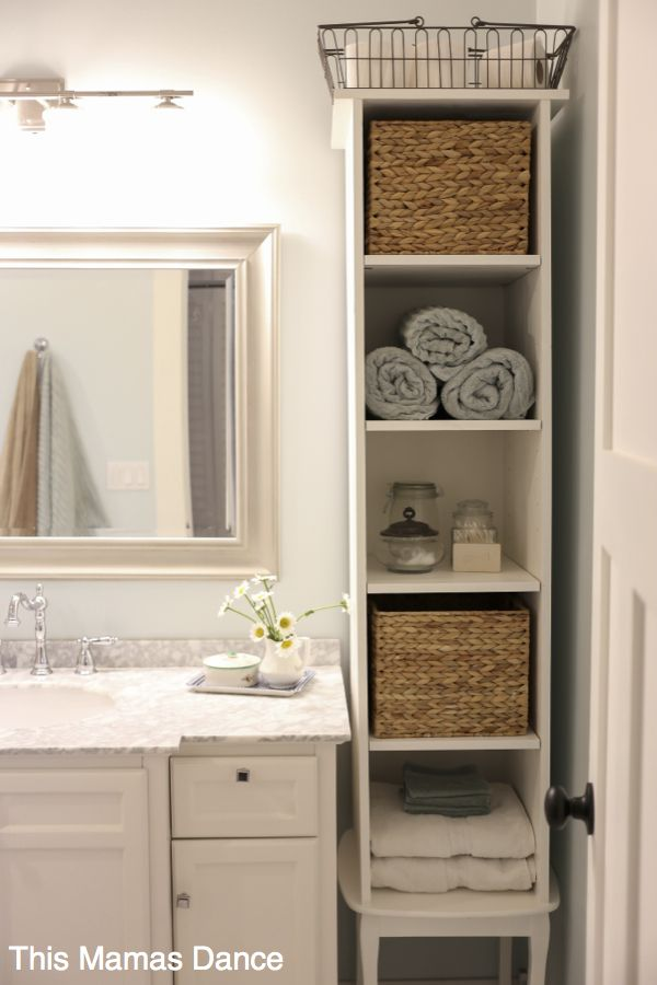 Diy Small Bathroom Storage white bathroom vanty tall cabinet cottage style this mamas dance