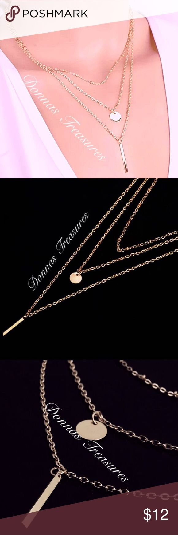 """🍀Triple Layer Rose Gold Necklace This ultra trendy necklace is Rose Gold Plating over nickel free alloy. The plain chain is 7.5"""" long. The coin chain is 9.5"""" with an additional 1/4"""" long coin. The bar chain is 12"""" with an additional 1.25"""" bar. There's also a 2"""" long extension chain making this great for all sized necks! Jewelry Necklaces"""