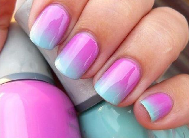 Use a makeup sponge to create this look, apply top coat to finish