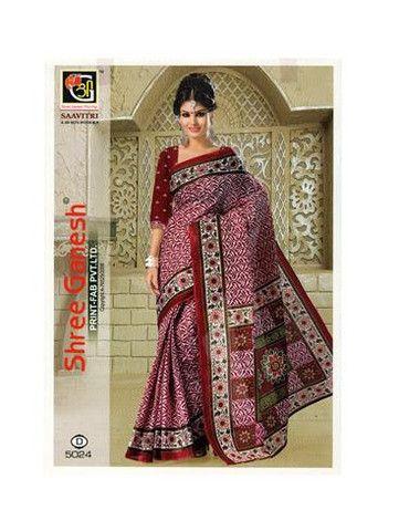 Savitri 5024 C Maroon Designer Printed Pure Cotton Saree