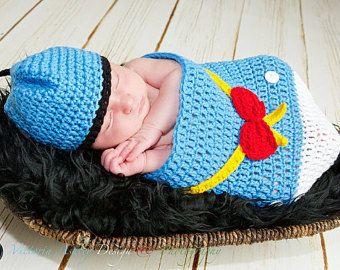 Ropa de bebé niño, empavesado bolsa Donald pato bebé, Foto Prop bebé, trajes de niños, regalo de bebé nuevo, ropa recién nacidos, niños recién nacidos, niño niños